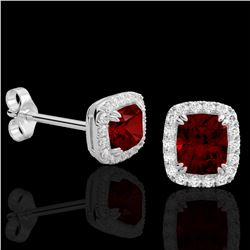 2.50 CTW Garnet & Micro Pave VS/SI Diamond Certified Halo Earrings 10K White Gold - REF-37T6X - 2286