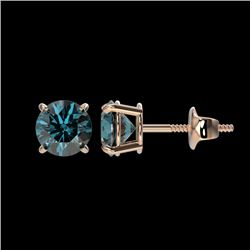1.08 CTW Certified Intense Blue SI Diamond Solitaire Stud Earrings 10K Rose Gold - REF-88M8F - 36593