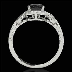 1.33 CTW Certified Vs Black Diamond Solitaire Halo Ring 10K White Gold - REF-60F4M - 33808