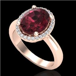 2.50 CTW Garnet And Micro Pave VS/SI Diamond Certified Ring Halo 14K Rose Gold - REF-38W9H - 21105