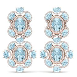 34.96 CTW Royalty Sky Topaz & VS Diamond Earrings 18K Rose Gold - REF-418X2T - 39322