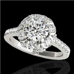 2.05 CTW H-SI/I Certified Diamond Solitaire Halo Ring 10K White Gold - REF-245X5T - 33909