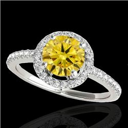 1.4 CTW Certified Si Fancy Intense Yellow Diamond Solitaire Halo Ring 10K White Gold - REF-180R2K -
