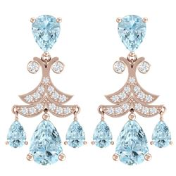 11.35 CTW Royalty Sky Topaz & VS Diamond Earrings 18K Rose Gold - REF-130F2M - 38725