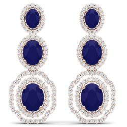 17.51 CTW Royalty Sapphire & VS Diamond Earrings 18K Rose Gold - REF-345T5X - 39208