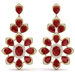 51.8 CTW Royalty Designer Ruby & VS Diamond Earrings 18K Yellow Gold - REF-527F3M - 39050