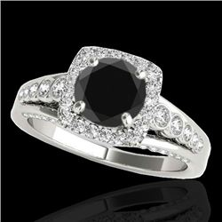 2 CTW Certified Vs Black Diamond Solitaire Halo Ring 10K White Gold - REF-101X3T - 34322
