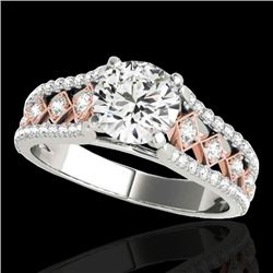 1.45 CTW H-SI/I Certified Diamond Solitaire Ring Two Tone 10K White & Rose Gold - REF-174M5F - 35281
