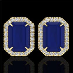 14 CTW Sapphire And Micro Pave VS/SI Diamond Halo Earrings 18K Yellow Gold - REF-136R4K - 21234