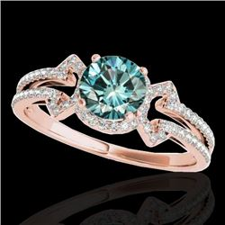 1.36 CTW SI Certified Fancy Blue Diamond Solitaire Ring 10K Rose Gold - REF-169W3H - 35328