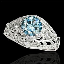 1.36 CTW SI Certified Blue Diamond Solitaire Antique Ring 10K White Gold - REF-172R8K - 34716