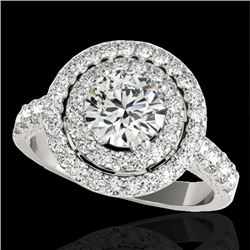 2.25 CTW H-SI/I Certified Diamond Solitaire Halo Ring 10K White Gold - REF-218R2K - 34211