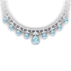60.62 CTW Royalty Sky Topaz & VS Diamond Necklace 18K White Gold - REF-945X5T - 38709