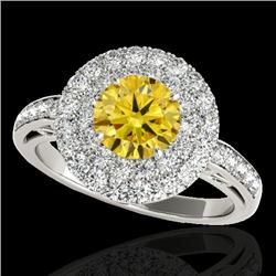 2.25 CTW Certified Si Fancy Intense Yellow Diamond Solitaire Halo Ring 10K White Gold - REF-218F2M -