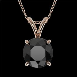 1 CTW Fancy Black VS Diamond Solitaire Necklace 10K Rose Gold - REF-31K8R - 33186