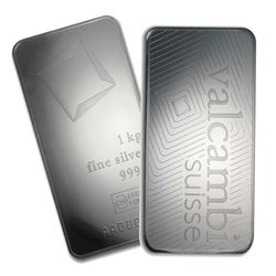 One piece 1 kilo 0.999 Fine Silver Bar Valcambi with Assay-78911