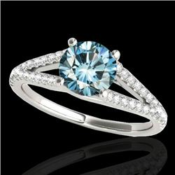 1.75 CTW SI Certified Fancy Blue Diamond Solitaire Ring 10K White Gold - REF-254H5W - 35311