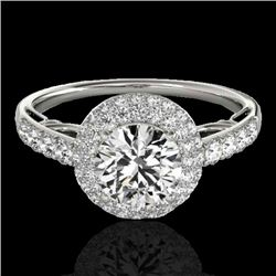 1.65 CTW H-SI/I Certified Diamond Solitaire Halo Ring 10K White Gold - REF-178F2M - 33697