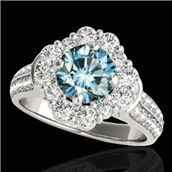 2.81 CTW SI Certified Fancy Blue Diamond Solitaire Halo Ring 10K White Gold - REF-309W3H - 33963