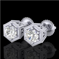 1.15 CTW VS/SI Diamond Solitaire Art Deco Stud Earrings 18K White Gold - REF-174F5M - 37217