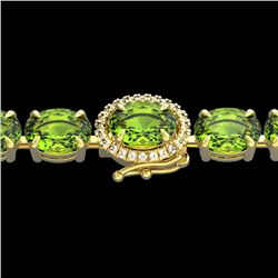 32 CTW Peridot & VS/SI Diamond Tennis Micro Pave Halo Bracelet 14K Yellow Gold - REF-154R4K - 23434
