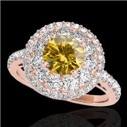 2.09 CTW Certified Si Fancy Intense Yellow Diamond Solitaire Halo Ring 10K Rose Gold - REF-220R2K -