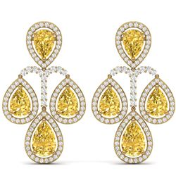 27.85 CTW Royalty Canary Citrine & VS Diamond Earrings 18K Yellow Gold - REF-409K3R - 39374