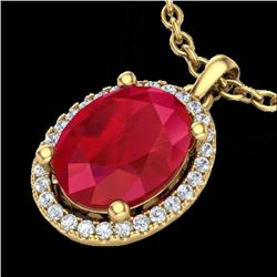 3 CTW Ruby & Micro Pave VS/SI Diamond Certified Necklace Halo 18K Yellow Gold - REF-59R3K - 21088