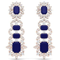 30.25 CTW Royalty Sapphire & VS Diamond Earrings 18K Rose Gold - REF-581T8X - 39412