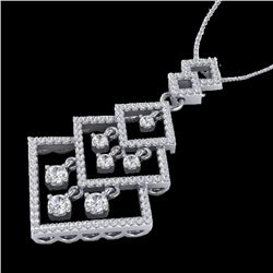 1.50 CTW Micro Pave VS/SI Diamond Certified Necklace Dangling 14K White Gold - REF-134R2K - 22493