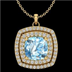 2.08 CTW Sky Blue Topaz & Micro Pave VS/SI Diamond Halo Necklace 18K Yellow Gold - REF-63X3T - 20450