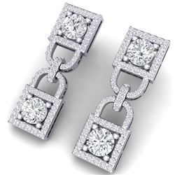 4 CTW Certified SI/I Diamond Halo Earrings 18K White Gold - REF-265N9Y - 40157