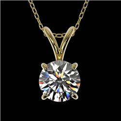 0.72 CTW Certified H-SI/I Quality Diamond Solitaire Necklace 10K Yellow Gold - REF-100R2K - 36738