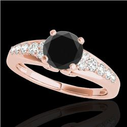 1.4 CTW Certified Vs Black Diamond Solitaire Ring 10K Rose Gold - REF-64K8R - 35000