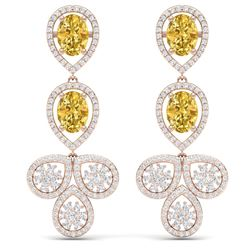 8.15 CTW Royalty Canary Citrine & VS Diamond Earrings 18K Rose Gold - REF-272M8F - 39094