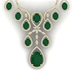 37.66 CTW Royalty Emerald & VS Diamond Necklace 18K Yellow Gold - REF-963W6H - 38558