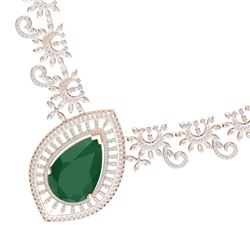 65.75 CTW Royalty Emerald & VS Diamond Necklace 18K Rose Gold - REF-1581N8Y - 39775