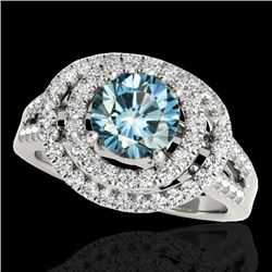 1.75 CTW SI Certified Fancy Blue Diamond Solitaire Halo Ring 10K White Gold - REF-200N2Y - 34288