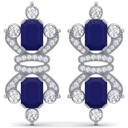 27.36 CTW Royalty Sapphire & VS Diamond Earrings 18K White Gold - REF-600W2H - 38766