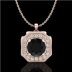 1.54 CTW Fancy Black Diamond Solitaire Art Deco Stud Necklace 18K Rose Gold - REF-120F2M - 38291