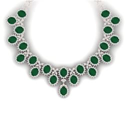 81 CTW Royalty Emerald & VS Diamond Necklace 18K Rose Gold - REF-1618M2F - 38620