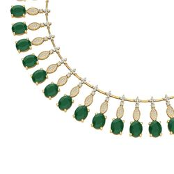 65.62 CTW Royalty Emerald & VS Diamond Necklace 18K Yellow Gold - REF-1254W5H - 39122