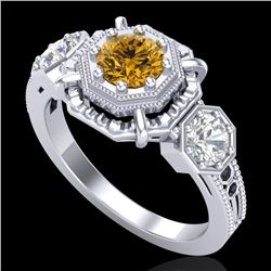 1.01 CTW Intense Fancy Yellow Diamond Art Deco 3 Stone Ring 18K White Gold - REF-165W5H - 37469