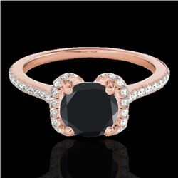 1.33 CTW Certified Vs Black Diamond Solitaire Halo Ring 10K Rose Gold - REF-57R6K - 33293