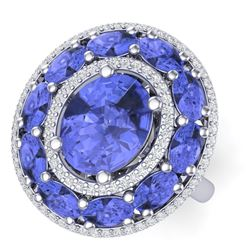 8.49 CTW Royalty Tanzanite & VS Diamond Ring 18K White Gold - REF-218Y2N - 39246