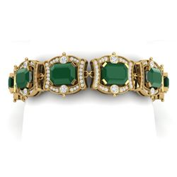 43.87 CTW Royalty Emerald & VS Diamond Bracelet 18K Yellow Gold - REF-836M4F - 38777