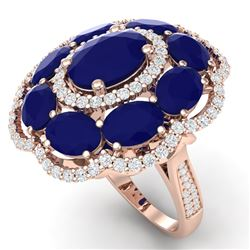 14.4 CTW Royalty Designer Sapphire & VS Diamond Ring 18K Rose Gold - REF-250R9K - 39190
