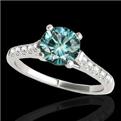 1.45 CTW SI Certified Fancy Blue Diamond Solitaire Ring 10K White Gold - REF-163X5T - 34984
