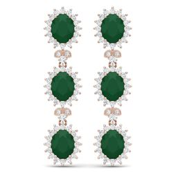 24.52 CTW Royalty Emerald & VS Diamond Earrings 18K Rose Gold - REF-436F4M - 38638