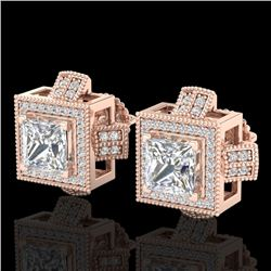 2.75 CTW Princess VS/SI Diamond Micro Pave Stud Earrings 18K Rose Gold - REF-684F3M - 37188